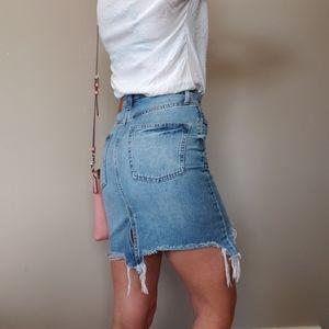 &Denim High Waisted Distressed Denim Skirt